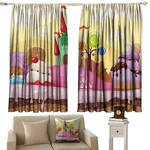 cashewii Cartoon Decor Polyester Curtain Kids Sweet Castle Landscape with Donuts Muffins Ice Cream Nursery Image Noise Reducing 55