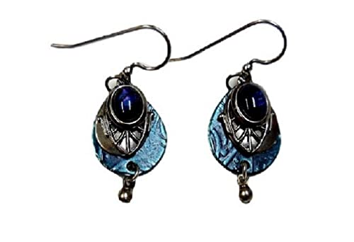 87ab101a1 Image Unavailable. Image not available for. Color: Silver Forest Blue and  Silvertone Teardrops with Blue Abalone Dangle Fashion Earrings
