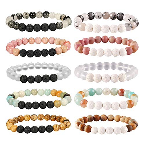 Besteel 10 Pcs Aromatherapy Oil Diffuser Bracelets for Women Girls Lava Stone Bead Bracelet Set 8MM