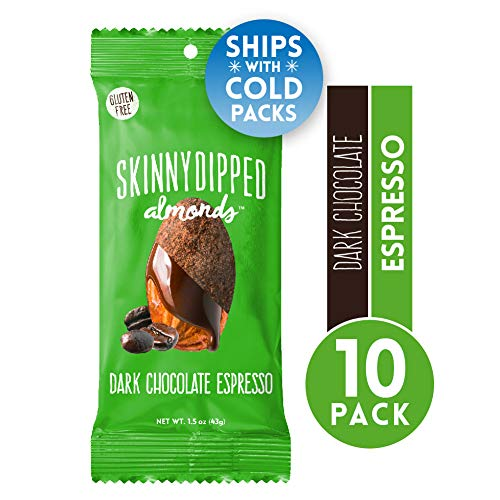 Skinny Dipped, Dark Chocolate Espresso Covered Almonds, Low Calorie Snack, Low Sugar, 1.5 Ounce Bag, 10 Count (Best Snacks Under 200 Calories)