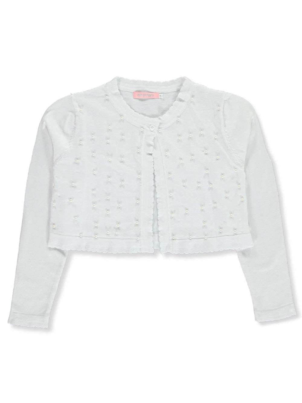 Pink Butterfly Girls Pearly Scallop-Trimmed Knit Shrug