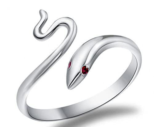 Infinite U Serpiente Plata Esterlina 925 Circonita Cúbica Mujer Anillos Ajustables para Boda/Matrimonio/