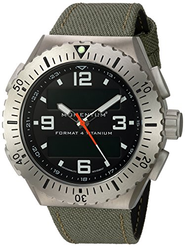Momentum Men's 'Format 4' Swiss Quartz Titanium and Canvas Diving Watch, Color:Green (Model: 1M-SP24B6G)