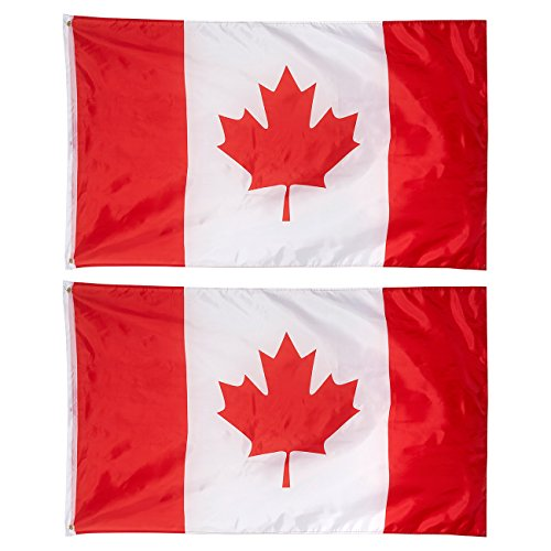 Juvale 2-Piece Canada Flags - Outdoor 3x5 Feet Canadian Flags, Canada National Flag Banners, Double Stitched Polyester Flags with Brass Grommets, Decorations for Parties and Festivals, 3 x 5 -