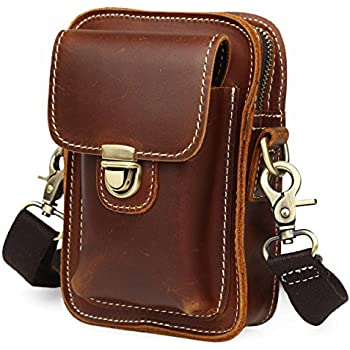 Amazon.com: Unisex Leather Messenger Shoulder Bag Small Satchel ...