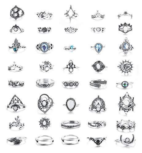 Hanpabum 40pcs Vintage Knuckle Ring Set for Women Boho Stackable Rings Set Hollow Carved Flowers