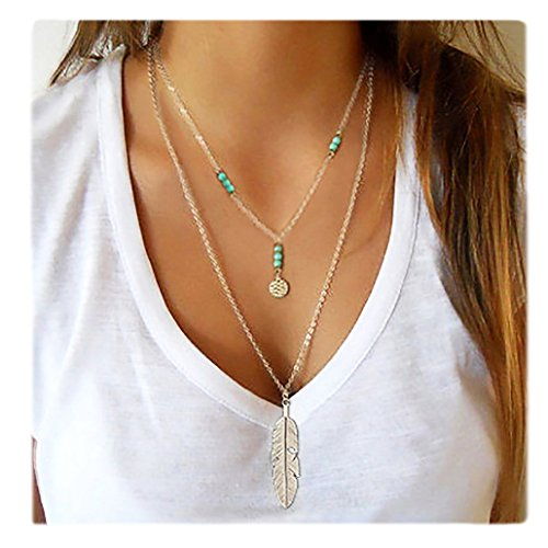 Wowanoo Simple Layered Bar Pendant Necklace Boho Feather Chain Necklace for Women Jewelry Feather S