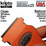 Orange Razor Blade Scraper for Paint, Tint, Adhesive, Residue,...