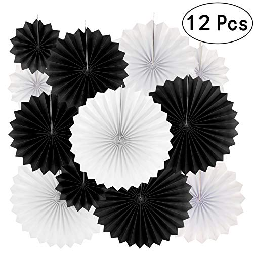 Black And White Party Decorations (Black White Party Hanging Paper Fans Decorations - Wedding Retirement Graduation Birthday Party Engagement Bridal Shower Party Ceiling Hangings Photo Booth Backdrops Decorations,)