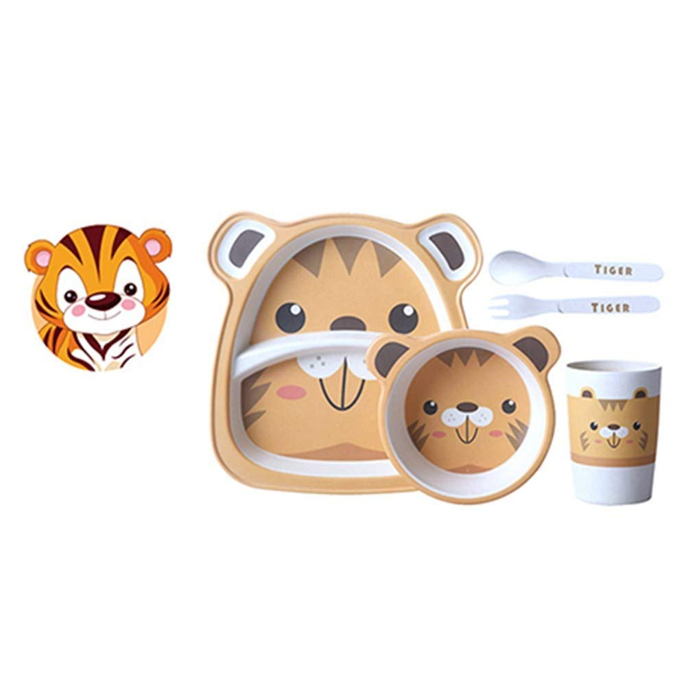 YQSMB 5Pcs Set Baby Cartoon Tableware Set Bamboo Fiber Material Children Dinner Plate+ Bowl +Cup+ Spoon +Fork Kids Tableware Set