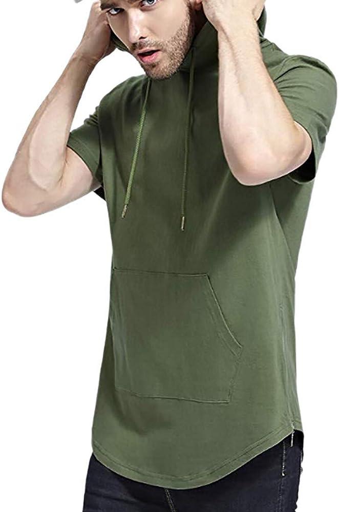 OPAKY Camisa de Manga Corta con Capucha de la Solapa de la Manera ...