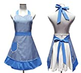 Cute White Dot Women Aprons Fashion for Girls Vintage Home Cooking Retro Beautiful Apron for Gift, Blue offers