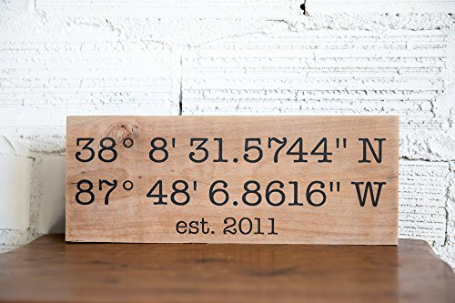 Wedding Valentine Gift Latitude Longitude Sign GPS Coordinates Sign Personalized for Her Home Decor Sign House Warming - Wood Home Shops