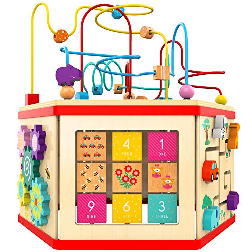 TOP BRIGHT Activity Cube Toy for 1 Year Old Girl Gift Wooden Baby Toy Cube
