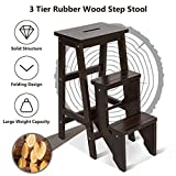 Costzon Folding Step Stool 3 Tier Wood