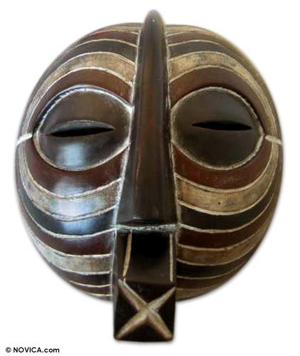 NOVICA Decorative Large Sese Wood Mask, Brown, 'Luba Death Mask' by NOVICA