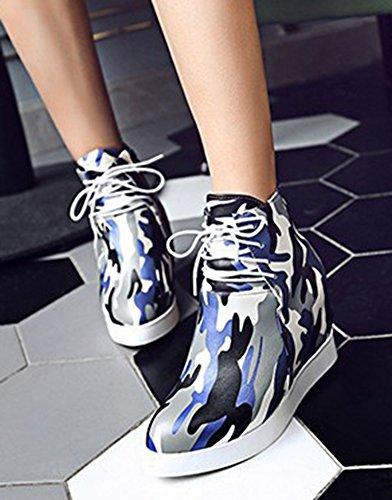 Aisun Donna Elegante Tacco Piattaforma Con Plateau Stringato Con Tacco Alto Stivaletti Con Zeppa Nascosta Scarpe Blu