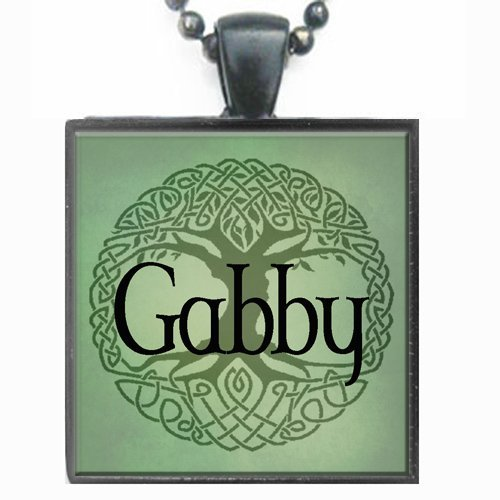 Gabby Celtic Tree of Life Glass Tile Black Pendant Necklace W/chain