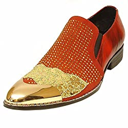Leather Slip On with Metallic Cap Toe and Crystal