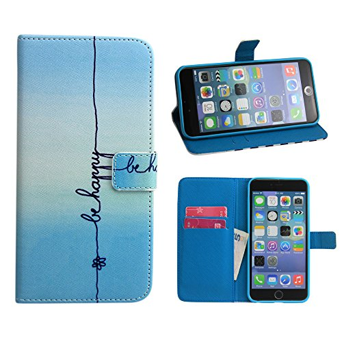iPhone 6 Case, Linkertech Blue behappy Strit Line Apple iPhone 6 Wallet Case[Shock-absorption], Pu Leather Wallet Card Holder Pouch Flip Case Cover with Stand Function for iPhone 6 4.7 Inch Version (010)