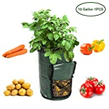 Garden Planter Bag, JARAGAR 1 Pack 10 Gallon Aeration PE Fabric Potato Grow Bags Vegetable Planter Bags with Convenient Access Flap Sturdy Handle for Harvesting Potato Carrot & Onion