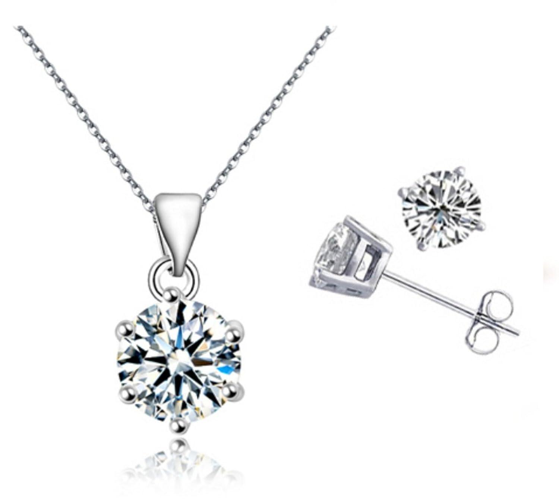 PRESKIN Collar y pendientes de la joyería de plata cristal brillante colgante