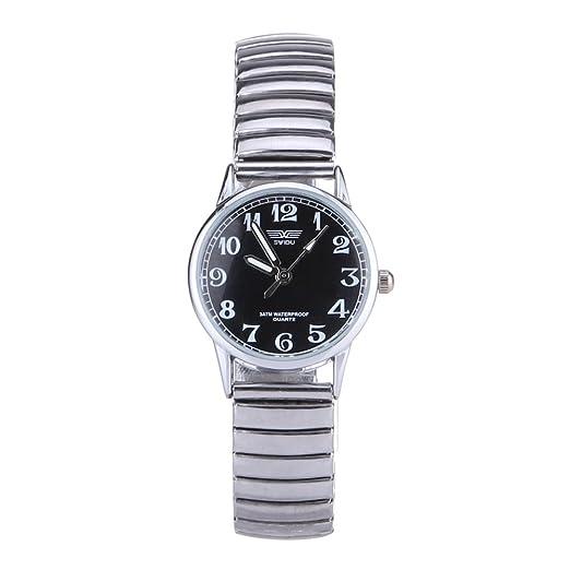 RLFS Reloj Retro de aleación de Acero Cuarzo (Negro) Reloj Famoso de Negocios (