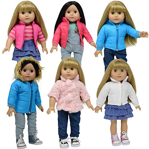 18 Doll Clothes for American Girl Doll Clothing - 6 Doll Winter Coats Fits 18 Dolls