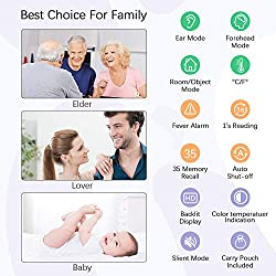 Ear and Forehead Digital Thermometer for Baby, Kids and Adult, VICSAINTECK Medical Infrared Tympanic Thermometer for Fever, Basal Body Temperature, 4IN1 Instant Thermometer for Body, Liquids, Room