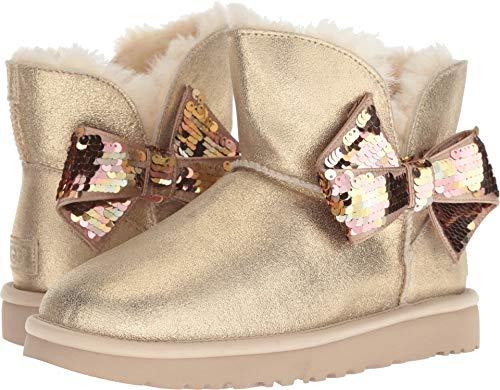 (UGG Women's W Mini Sequin Bow Fashion Boot Gold 9 M)