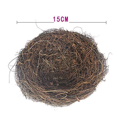 lwingflyer 2pcs Rattan Bird's Nest Crafts Handmade Dry Natural Bird's Nest for Garden Yard Home Party Wedding Decor No Eggs(Medium)