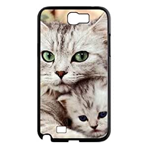 Diy Beautiful Cute Little Cat Custom Cover Phone Case for samsung galaxy note 2 Black Shell Phone [Pattern-3]