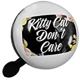 Small Bike Bell Floral Border Kitty Cat Don't Care - NEONBLOND