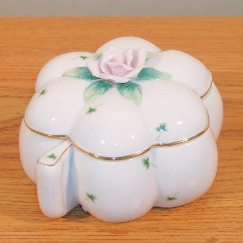 Shamrock Porcelain - Banberry Designs Irish Porcelain Box with Lid Shamrock Shaped with Rose Flowers Poem - 5