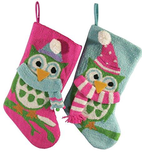 (Santa's Workshop 18068 Owl Stocking, Set of 2, 19