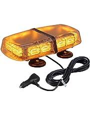 72 leds zwaailicht, barnsteenkleurig stroboscooplicht, 7 modi, amber waarschuwingslicht, knipperlicht met 4 sterke magneetvoet + 5 m netsnoer regelschakelaar, 12/24 V noodveiligheid waarschuwingslicht noodlicht