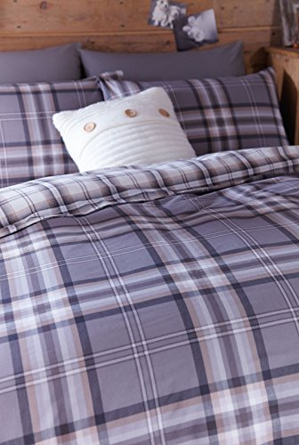 -[ Catherine Lansfield Kelso Double Duvet Set - Charcoal  ]-
