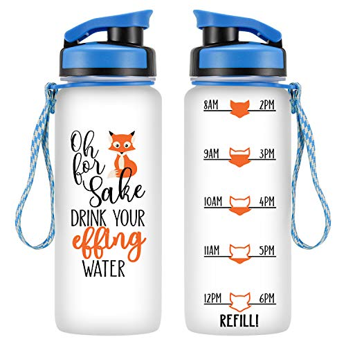 LEADO 24oz Motivational Tracking Water Bottle with Time Marker - Oh for Fox Sake Drink Your Effing Water - Funny Birthday, Summer Gifts for Women Friends, Kids, Daughter, Son - Drink More Water Daily (Bff Water Bottles)
