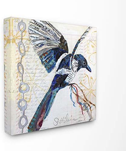 Stupell Industries Bird Journal Collage Textured Animal Design Canvas Wall Art, Multi-Color