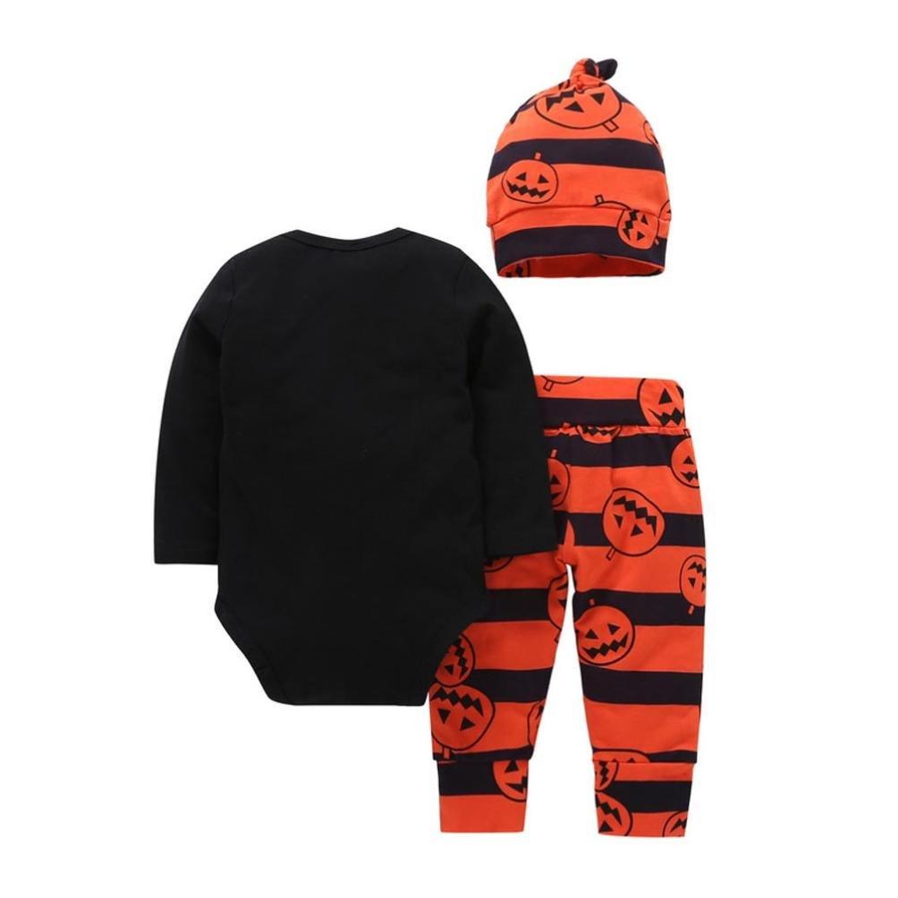 49f825ffb008 Amazon.com  Kshion Newborn Infant Baby Girl Boy Pumpkin Romper Top+Pants+Hat  Halloween Clothes Set  Clothing