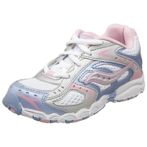 Saucony Baby Cohesion Lace Running Shoe (Toddler),Silver/Lavender,7 W US Toddler