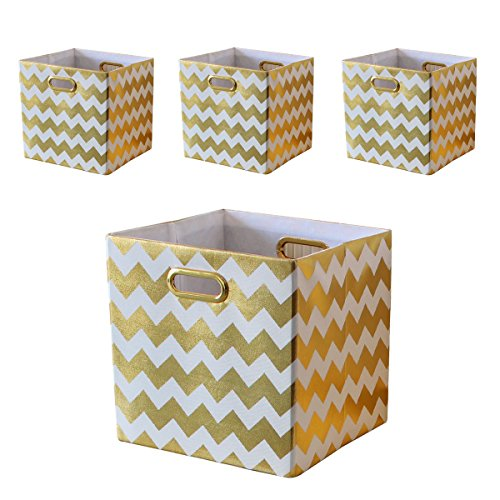 BAIST Fabric Storage Cubes,Fancy Big Collapsible Linen Bed Drawer Storage Baskets Bins Organizers for Playroom Books Toys School Days-Set of 4,White Chevron