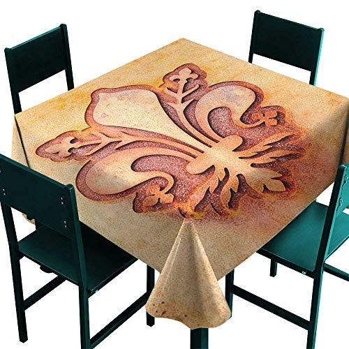 (Warm Family Fleur De Lis Stain-Resistant tableclothLily Flower Symbol on Plate Floral Design Royal Arms France Sign Cultural Print for Kitchen Dinning Tabletop Decoration D67)