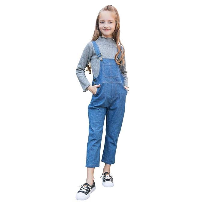 Sanlutoz Moda Chicas Babero Mezclilla Mono Casual Niños Azul Jeans Largos Al Aire Libre Desgaste: Amazon.es: Ropa y accesorios