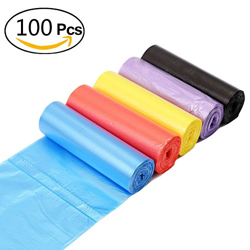 Small Trash Bags 4 Gallon, JORRIS Strong Thicken Small Garbage Bags 15-Liters Wastebasket Bags for Kitchen Home Bathroom Bedroom Toilet Office Rubbish Bin Waste Bin (100 Counts/5 Colors)