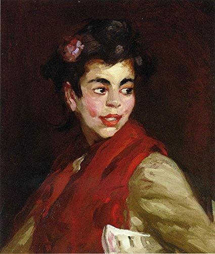 Cutler Miles Newsgirl, Madrid, Spain by Robert Henri Hand Painted Oil on Canvas Reproduction Wall Art. 27x30 by Cutler Miles