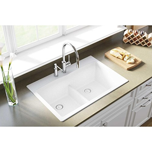 Elkay Quartz Classic ELGDLB3322WH0 White Equal Double Bowl Drop-In Sink with Aqua Divide by Elkay (Image #1)