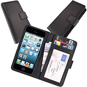 Fonerize Genuine Leather Wallet & ID Card Holder Case for iPhone 4, 5, 5C & 5S - Black. Slimline Design in Real English Leather.