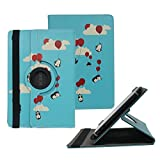 Tsmine Nvidia Shield Tablet X1 Rotating Case Cartoon for Kids - Universal Protective Penguins Printed Rotary Leather Case Stand Cover for Nvidia Shield Tablet X1, Penguins with Balloons