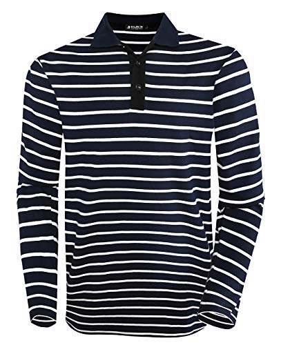 Musen Men Long Sleeve Polo Shirts Casual Cotton Classic Regular Fit Striped T-Shirts Navy Blue M